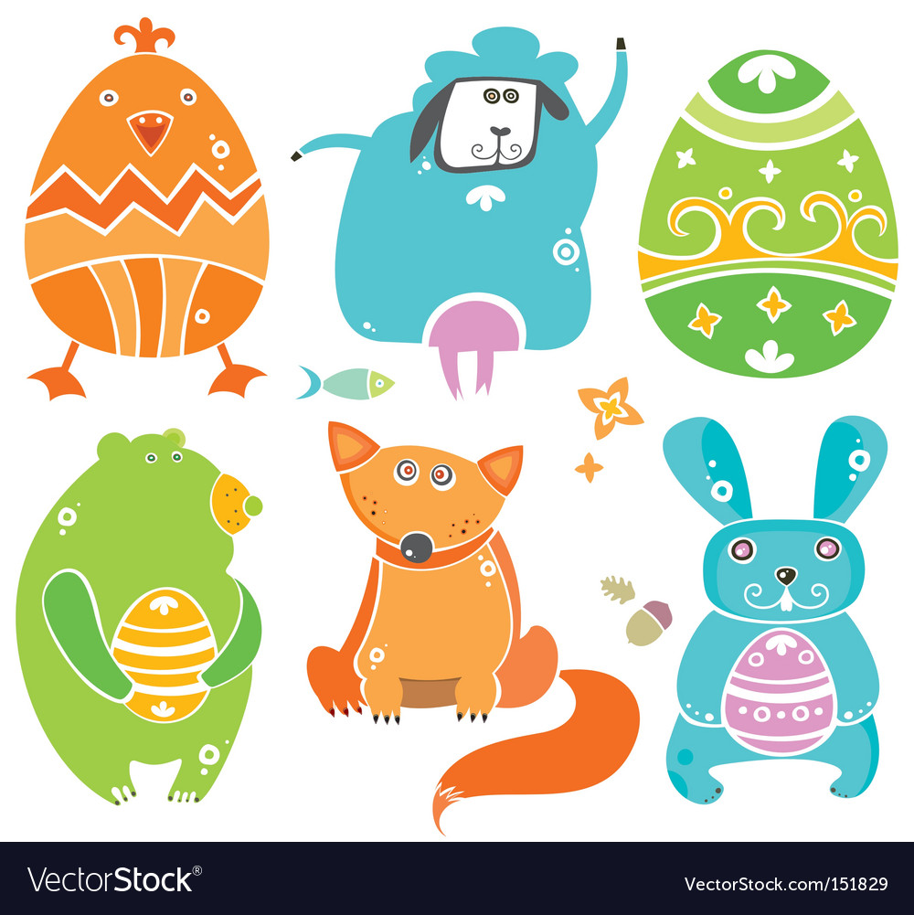 Easter animals vector | Price: 1 Credit (USD $1)
