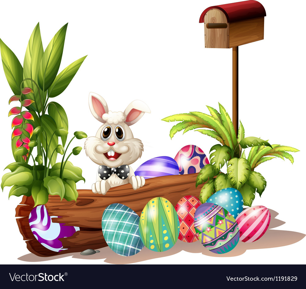 The easter bunny near the mailbox vector | Price: 1 Credit (USD $1)