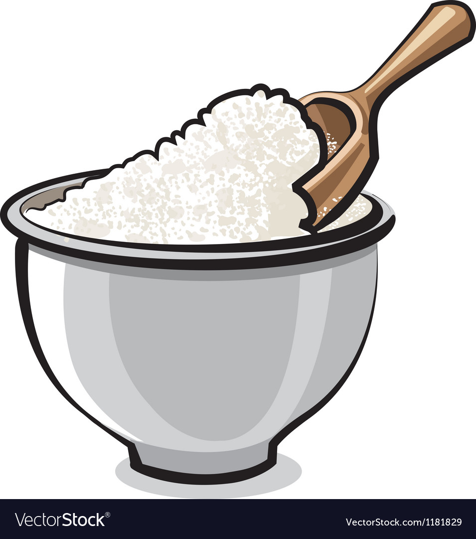 Flour in bowl vector | Price: 1 Credit (USD $1)