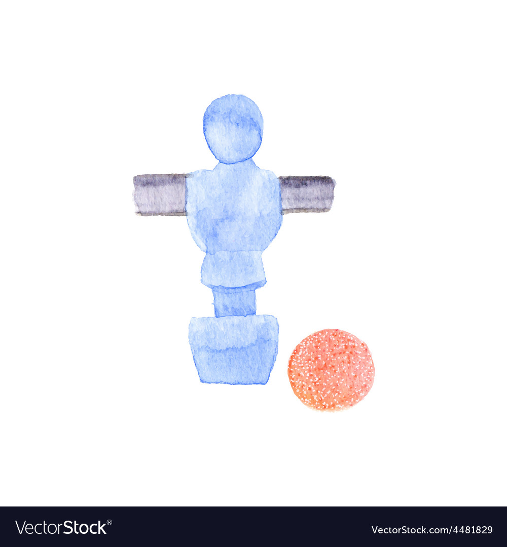Foosball player and ball watercolor object on the vector | Price: 1 Credit (USD $1)