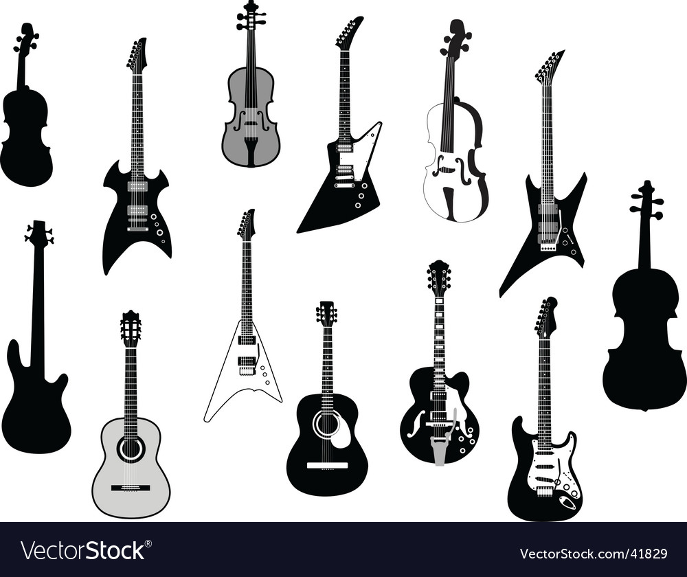Guitar silhouettes vector | Price: 1 Credit (USD $1)