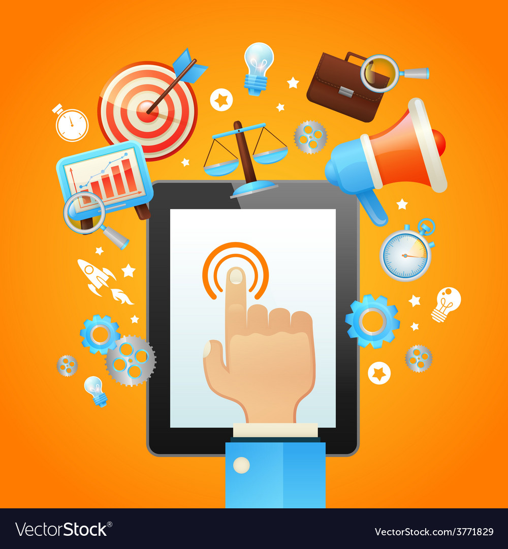 Hand with tablet device vector | Price: 3 Credit (USD $3)
