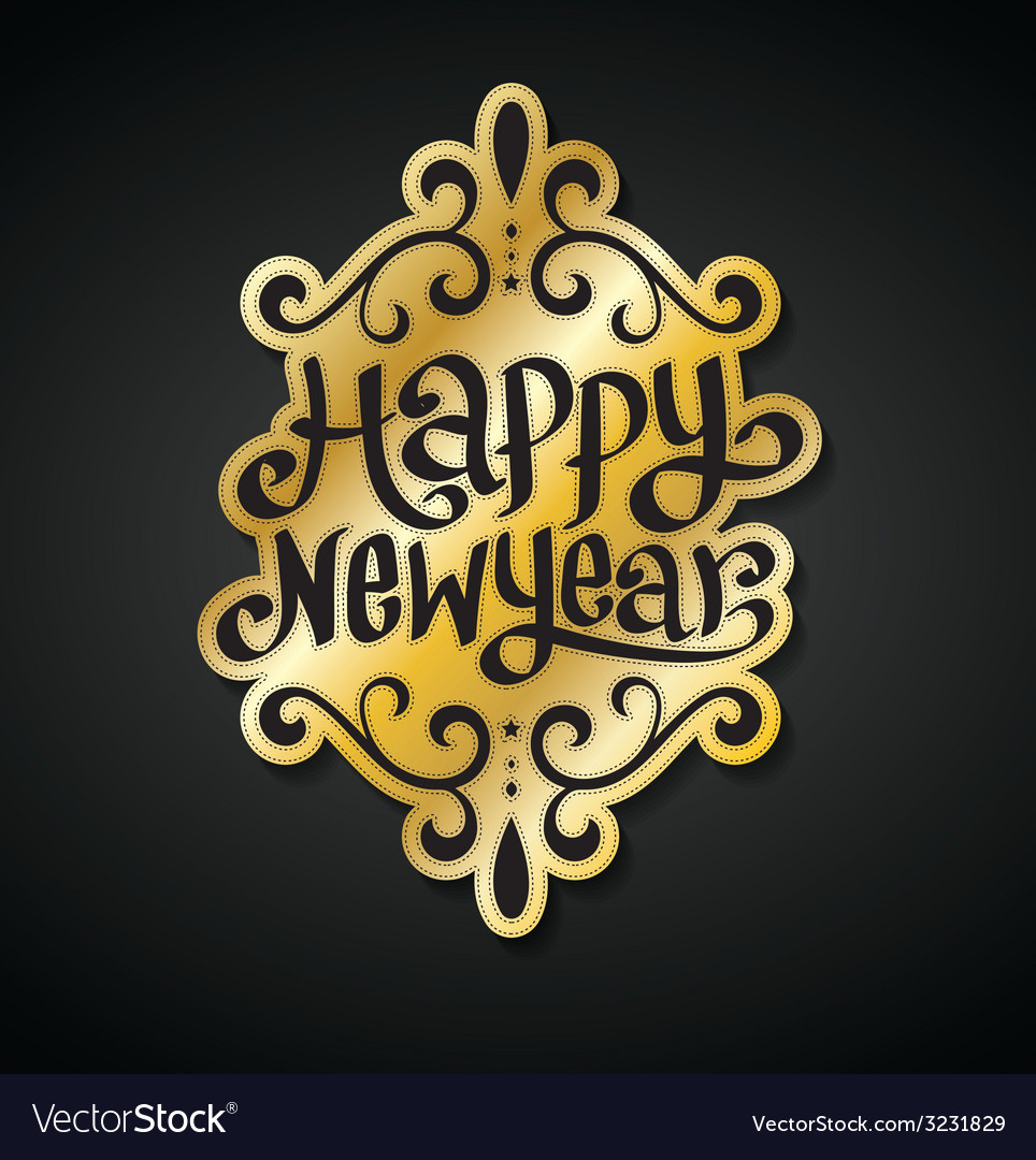 Happy new year card gold vector | Price: 1 Credit (USD $1)