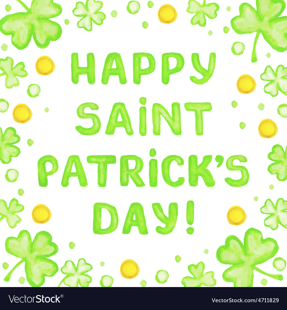 Happy saint patricks day greeting card vector   Price: 1 Credit (USD $1)