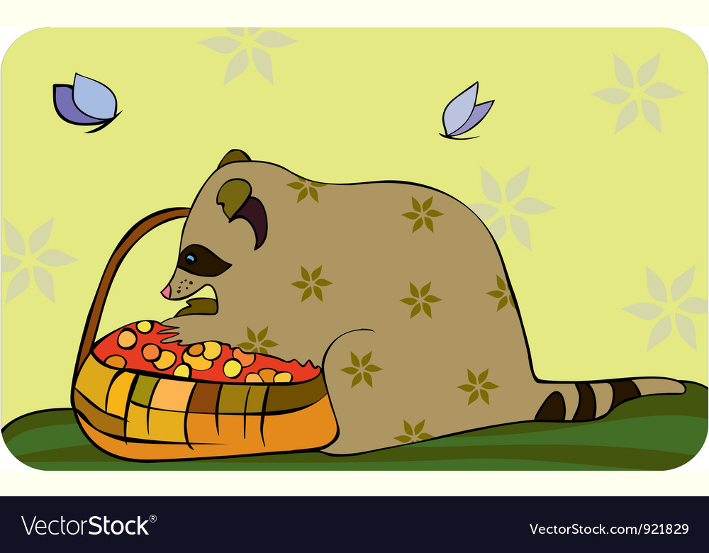 Racoon basket berries vector | Price: 1 Credit (USD $1)