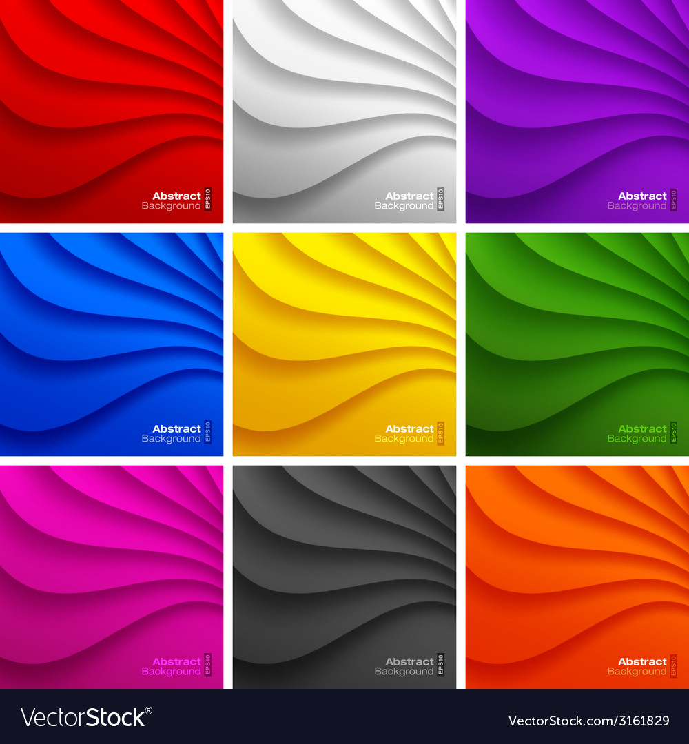 Set of 9 colorful wavy backgrounds vector | Price: 1 Credit (USD $1)