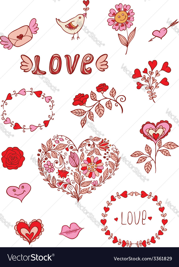 Set of floral romantic doodle elements vector | Price: 1 Credit (USD $1)