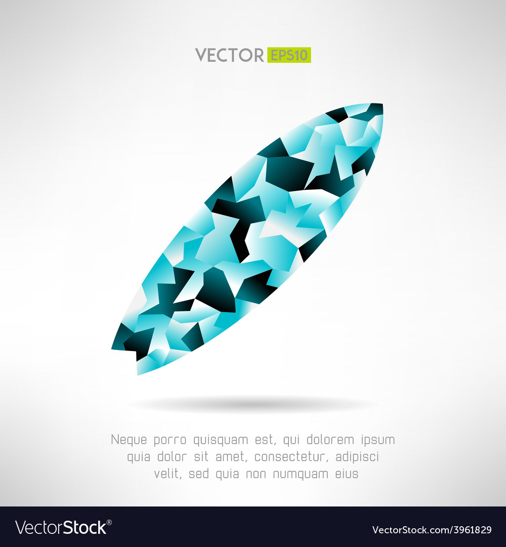 Surfboard icon in modern polygonal design vector | Price: 1 Credit (USD $1)