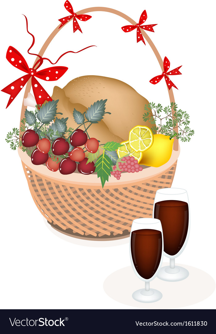 A brown basket of thanksgiving turkey with wine vector | Price: 1 Credit (USD $1)