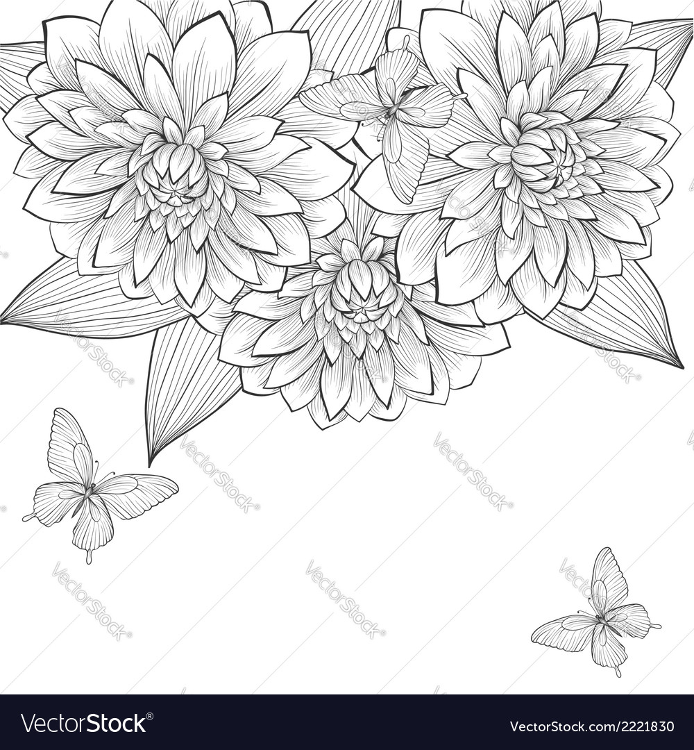 Background with frame of dahlia vector | Price: 1 Credit (USD $1)