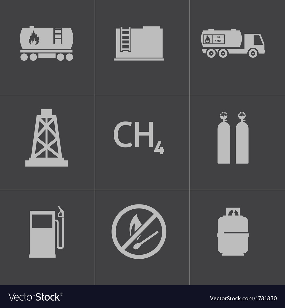 Black natural gas icons set vector | Price: 1 Credit (USD $1)