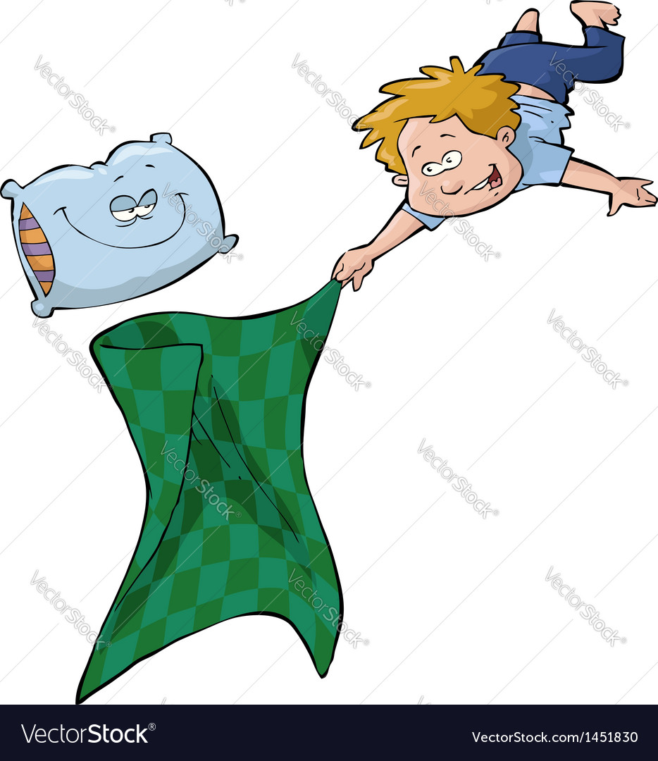 Boy with a blanket and a pillow vector | Price: 1 Credit (USD $1)