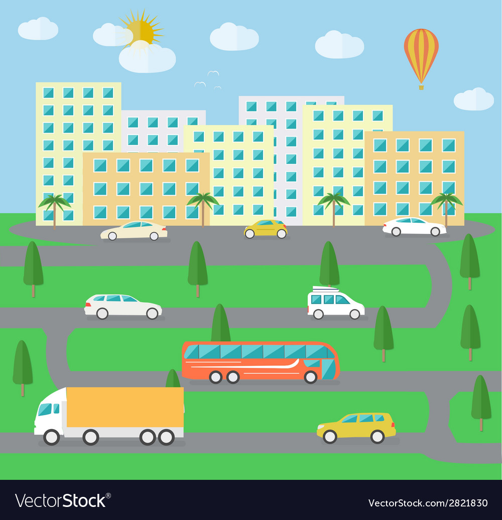 City town landscape life vector | Price: 1 Credit (USD $1)