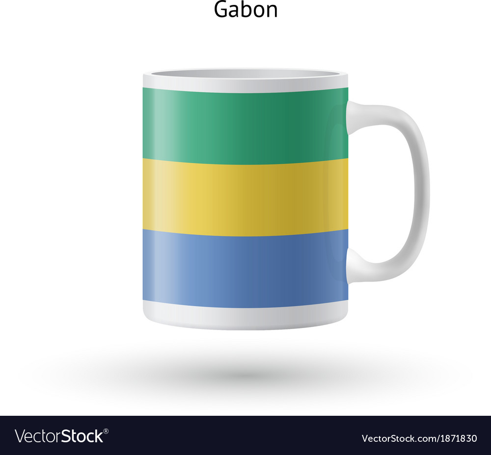 Gabon flag souvenir mug on white background vector | Price: 1 Credit (USD $1)