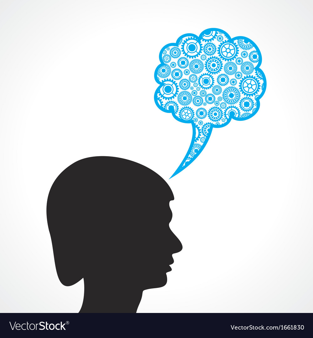 Group of gears make a speech bubble with male face vector | Price: 1 Credit (USD $1)