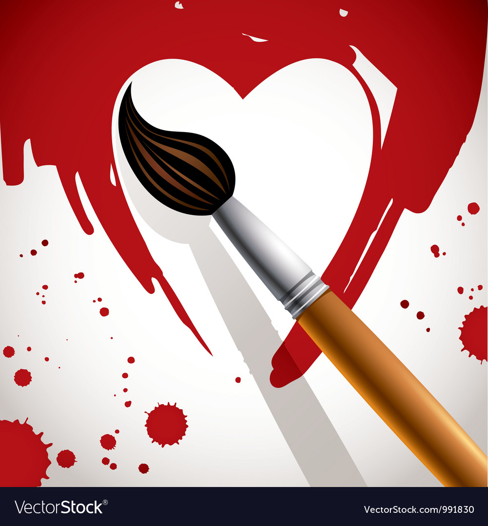 Heart painted with brush vector | Price: 1 Credit (USD $1)