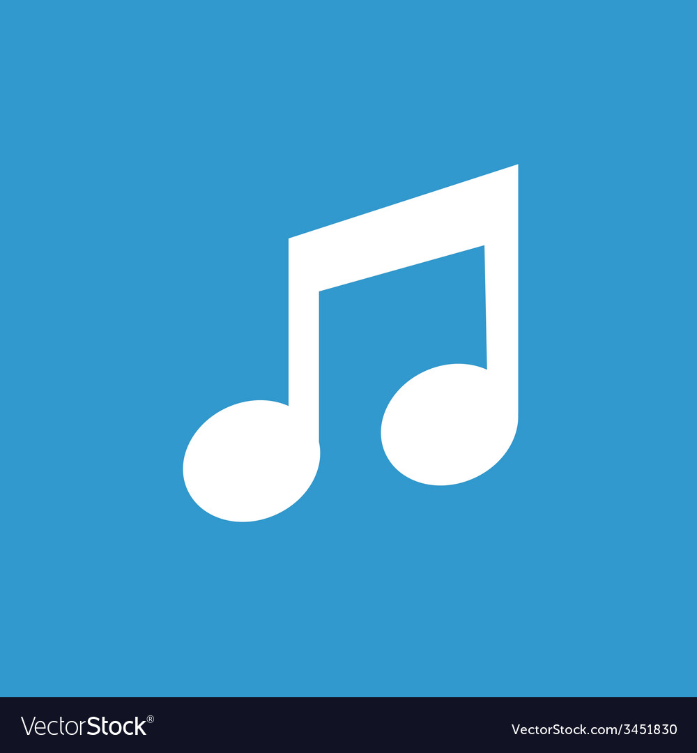 Music icon white on the blue background vector | Price: 1 Credit (USD $1)