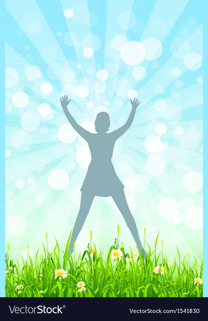 Nature background with girl silhouette vector | Price: 1 Credit (USD $1)