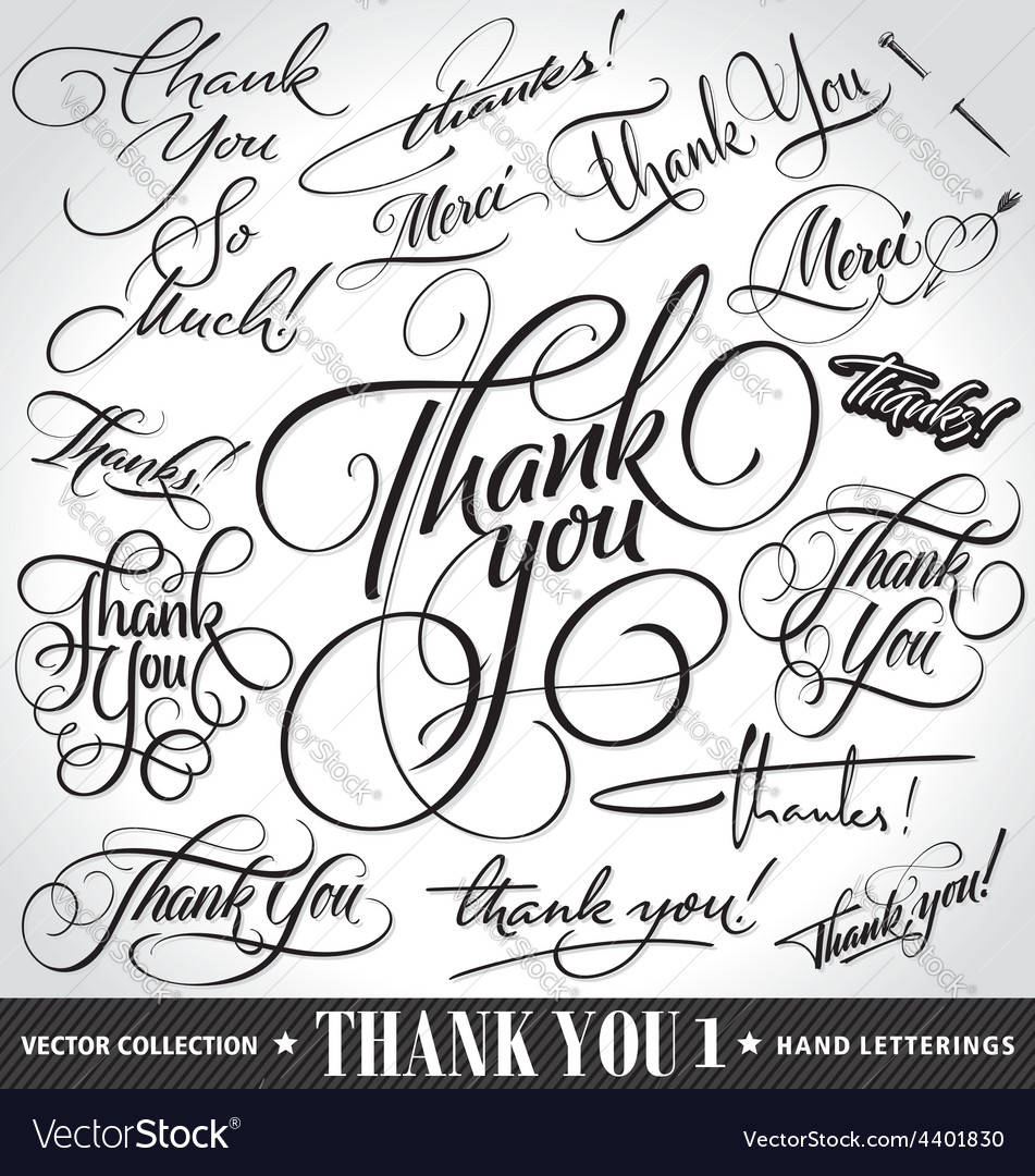Set of custom thank you hand lettering vector | Price: 1 Credit (USD $1)