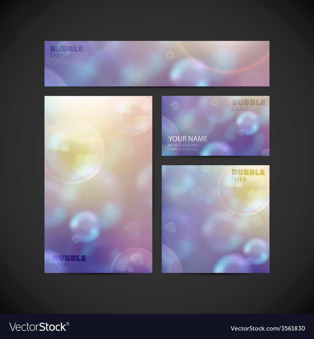 Set of visual corporate identity with flying soap vector | Price: 1 Credit (USD $1)