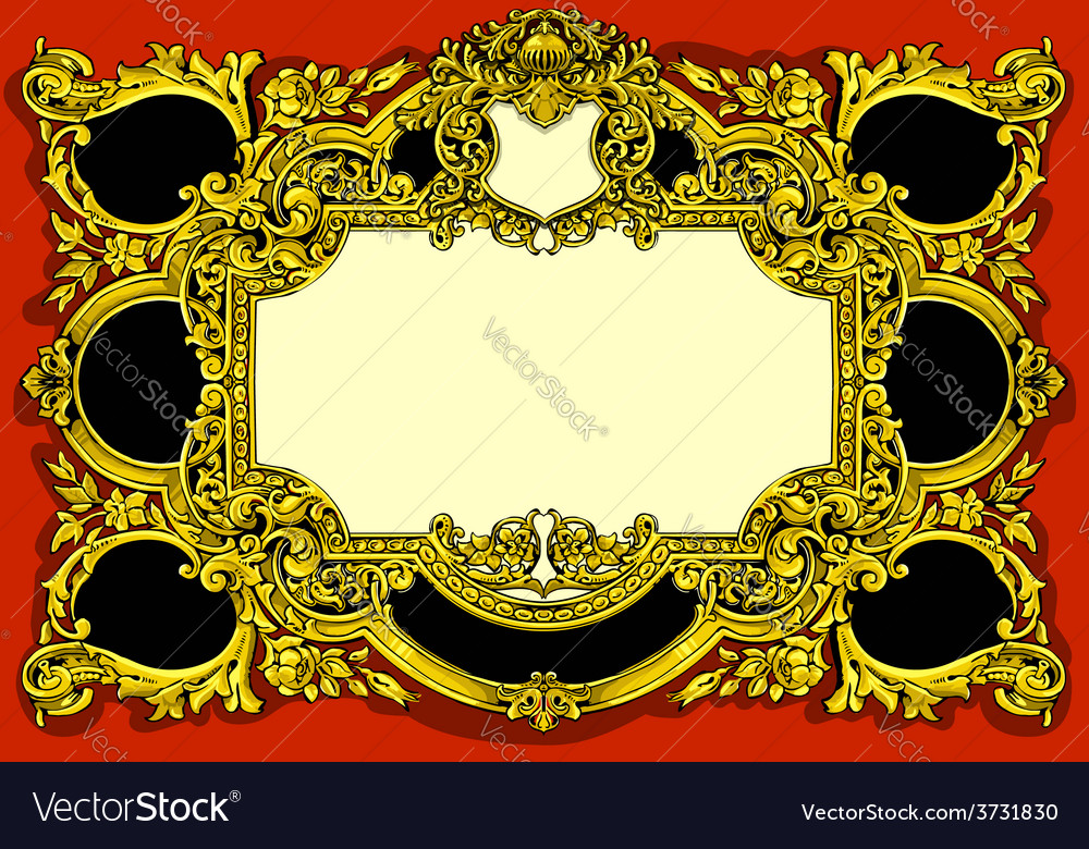 Vintage gold baroque frame on red background vector | Price: 3 Credit (USD $3)