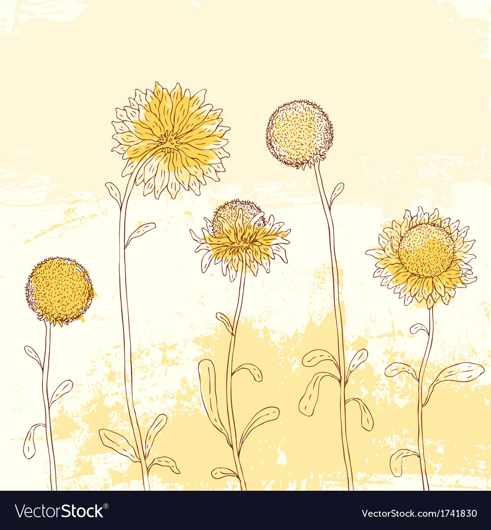 Yellow sunflower on watercolor background vector | Price: 1 Credit (USD $1)