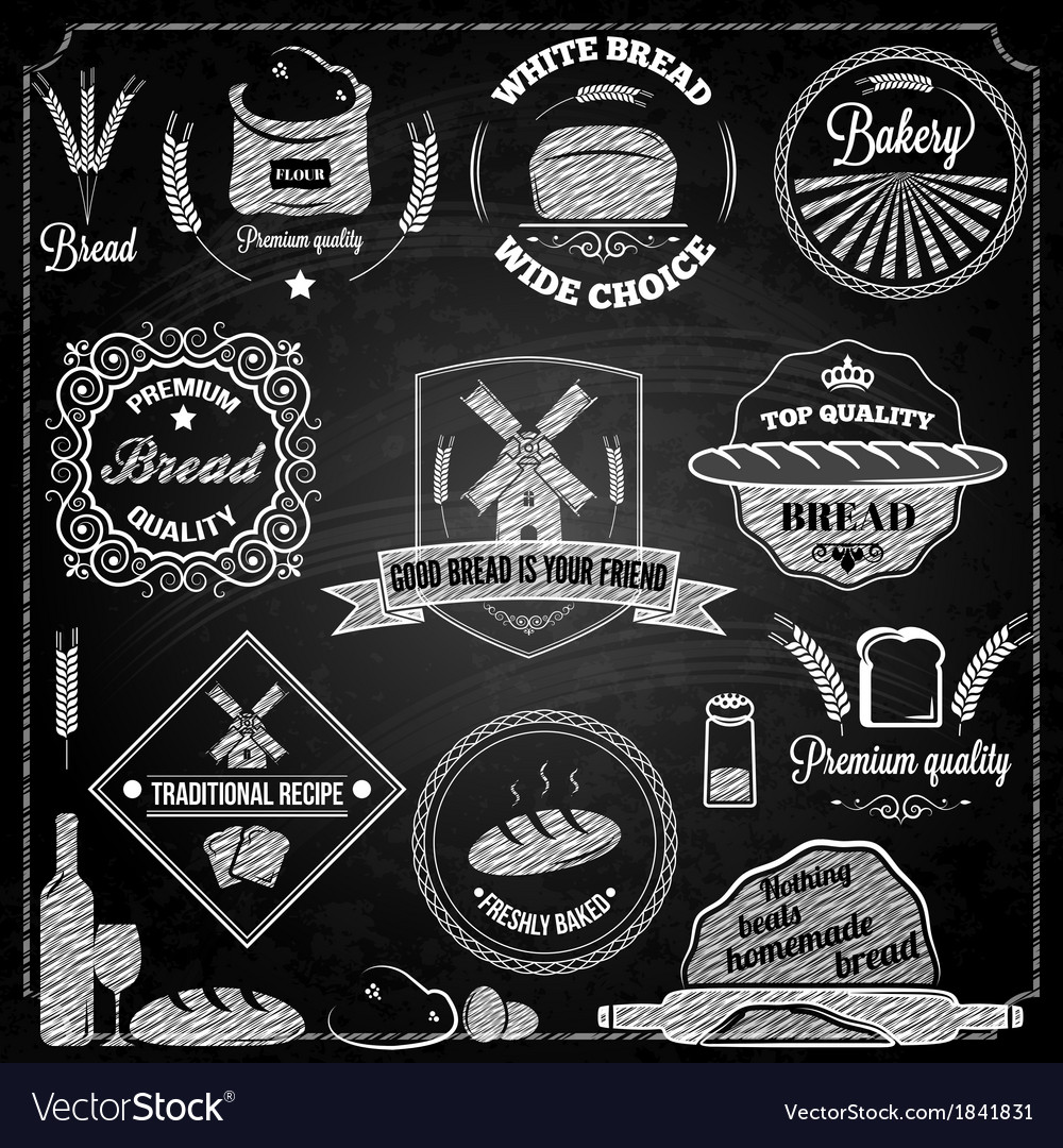 Bread bakery set elements chalkboard vector | Price: 1 Credit (USD $1)
