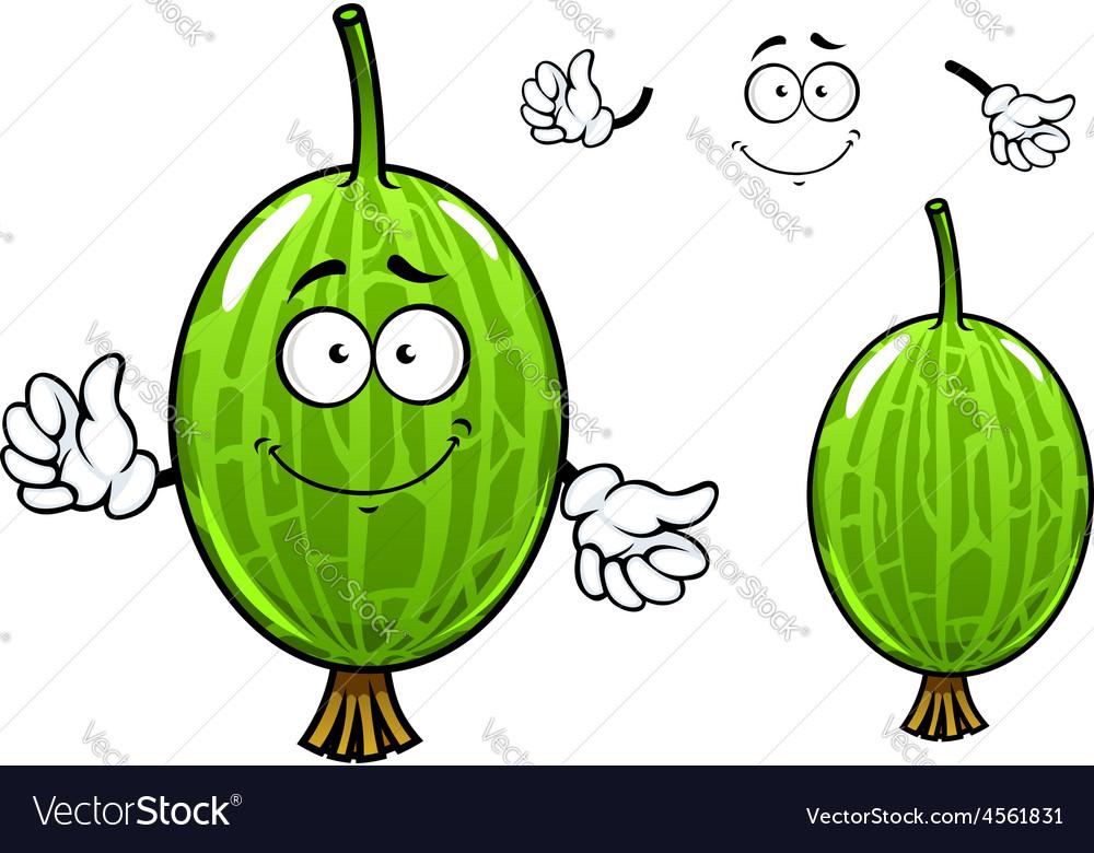Cartoon green gooseberry fruit character vector | Price: 1 Credit (USD $1)