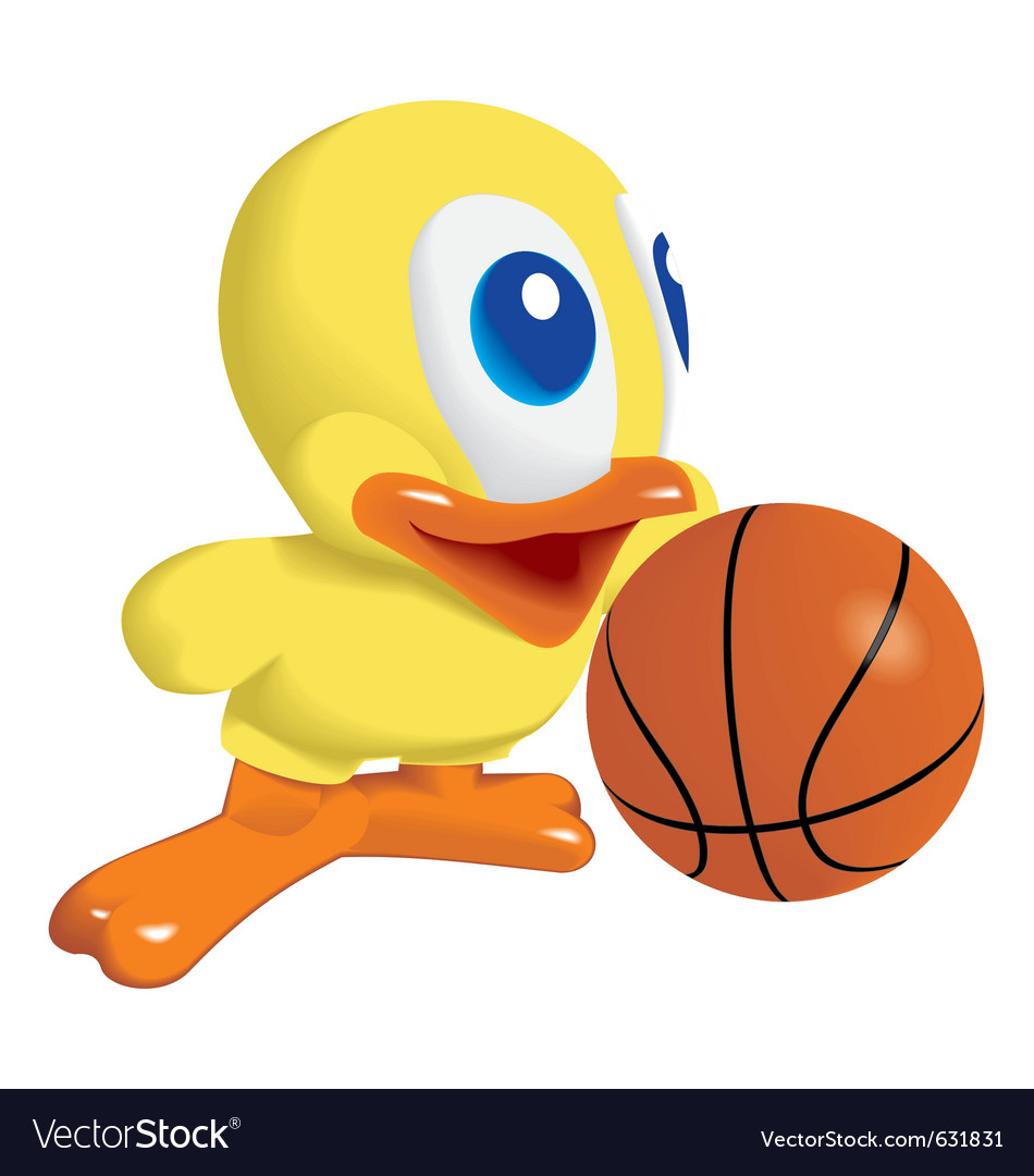 Duck with basketball ball vector | Price: 1 Credit (USD $1)