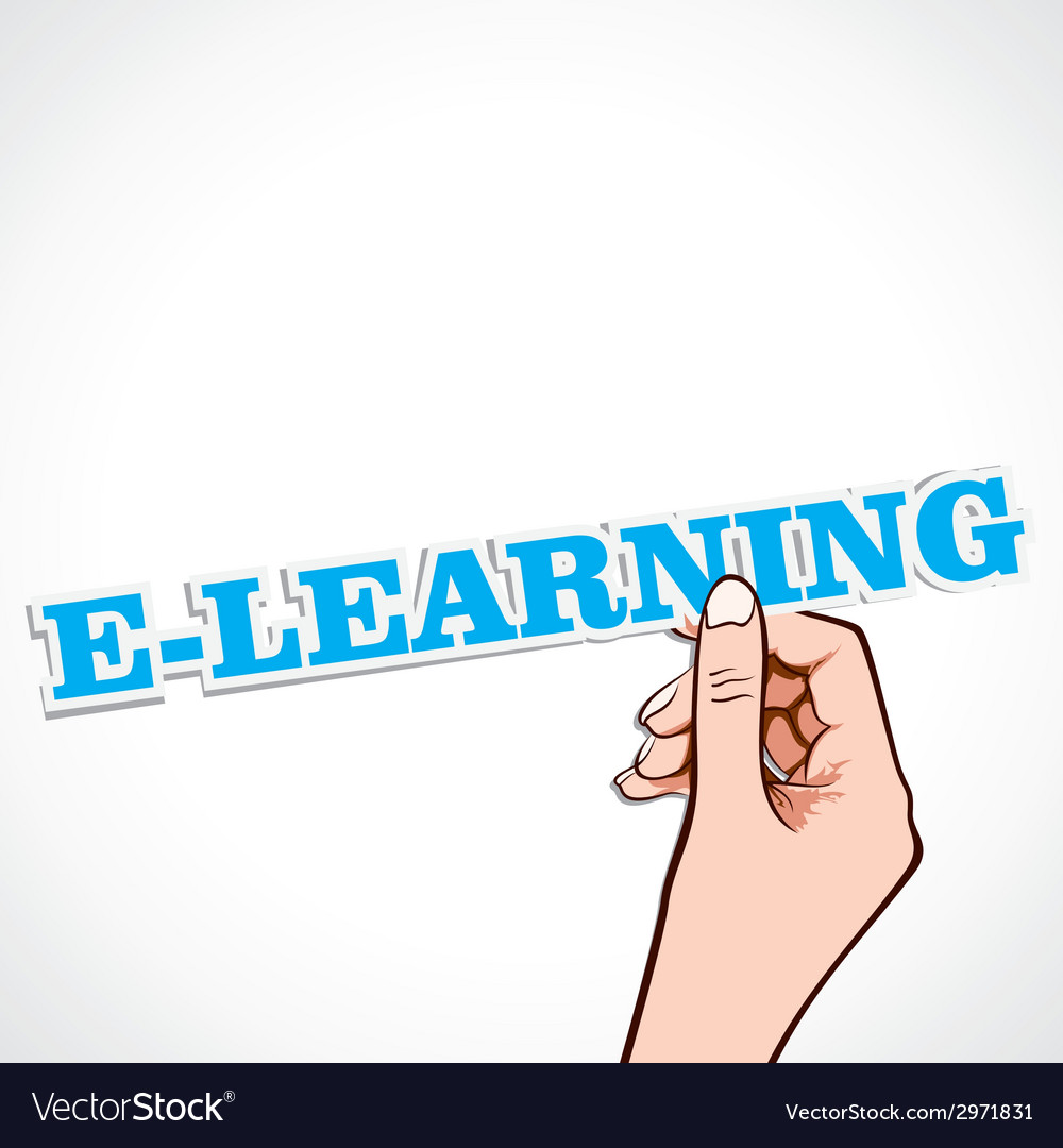 E-learning word in hand vector | Price: 1 Credit (USD $1)