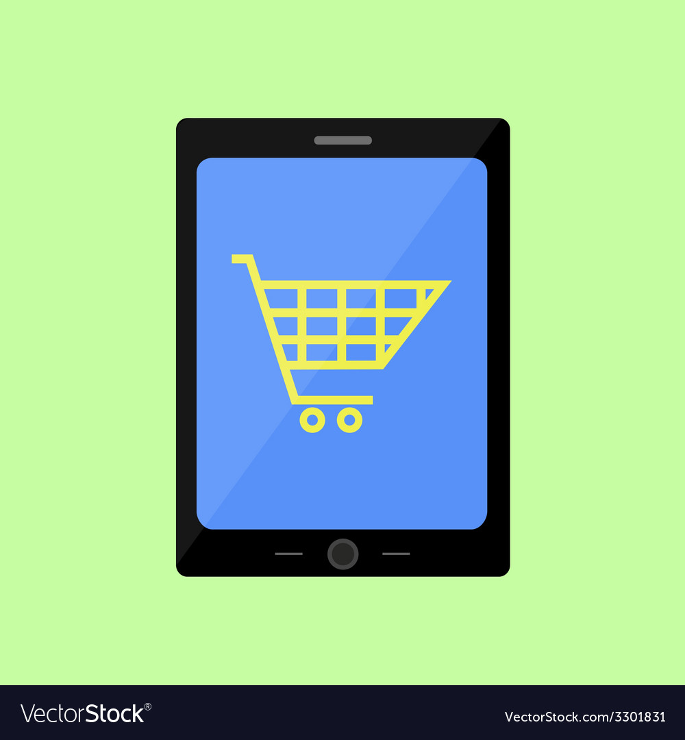 Flat style touch pad with shopping cart vector   Price: 1 Credit (USD $1)