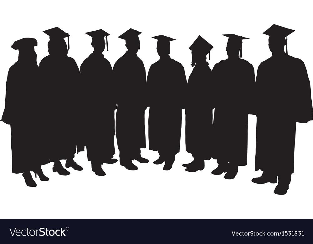 Graduates silhouette vector | Price: 1 Credit (USD $1)