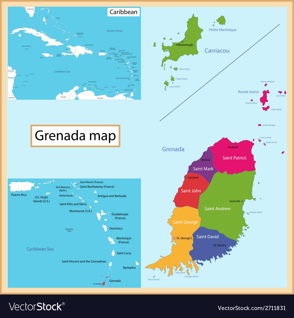 Grenada map vector | Price: 1 Credit (USD $1)