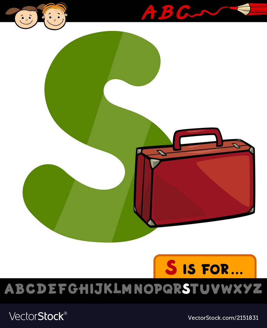 Letter s with suitcase cartoon vector | Price: 1 Credit (USD $1)