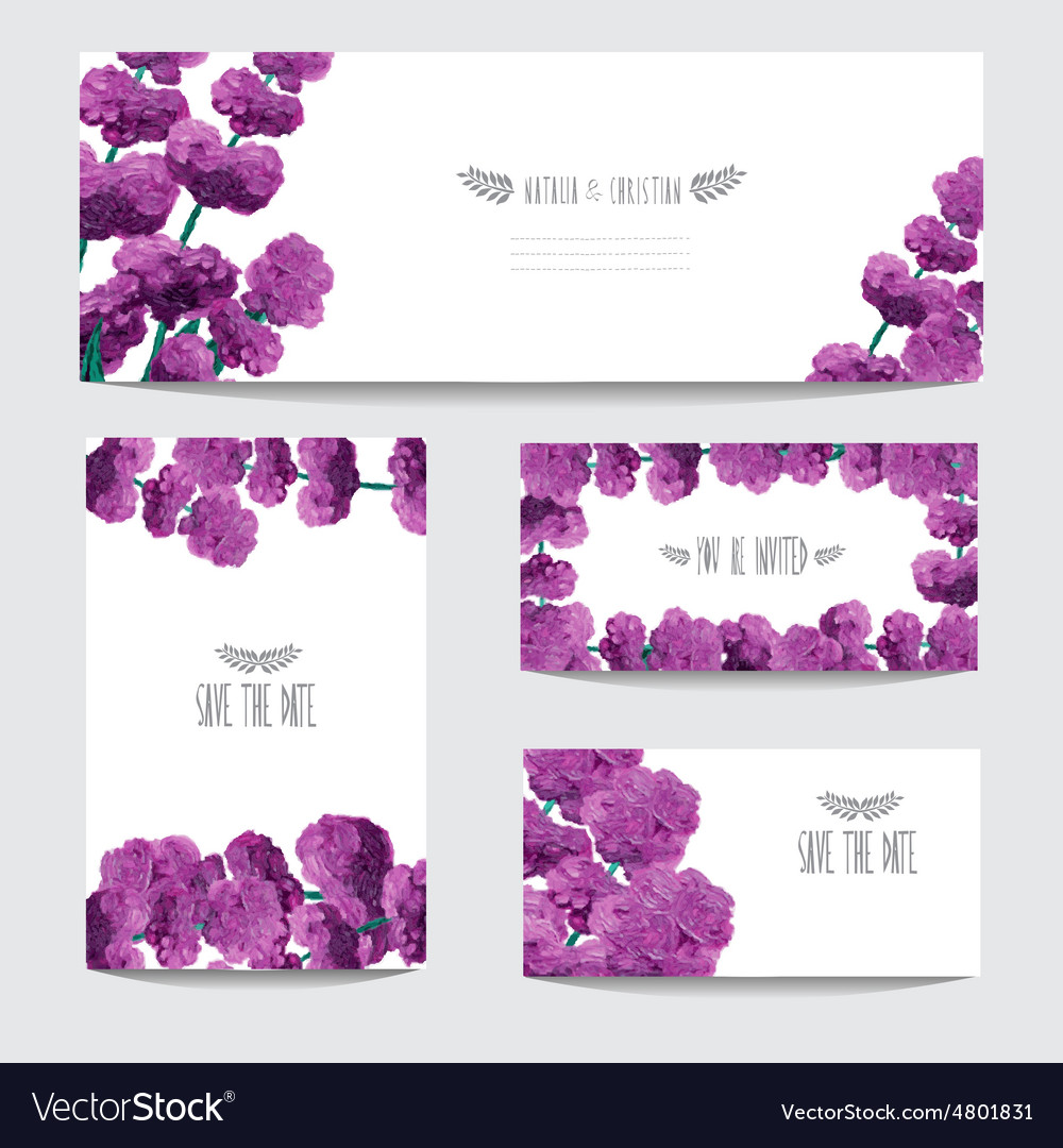 Oil painted cards set vector