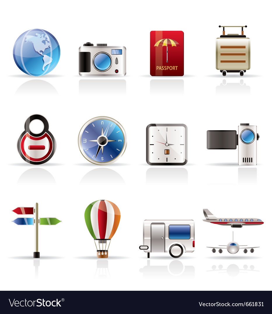Realistic vacation and travel icons vector | Price: 1 Credit (USD $1)
