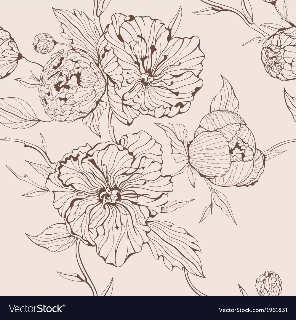 Sepia seamless background with peony vector | Price: 1 Credit (USD $1)