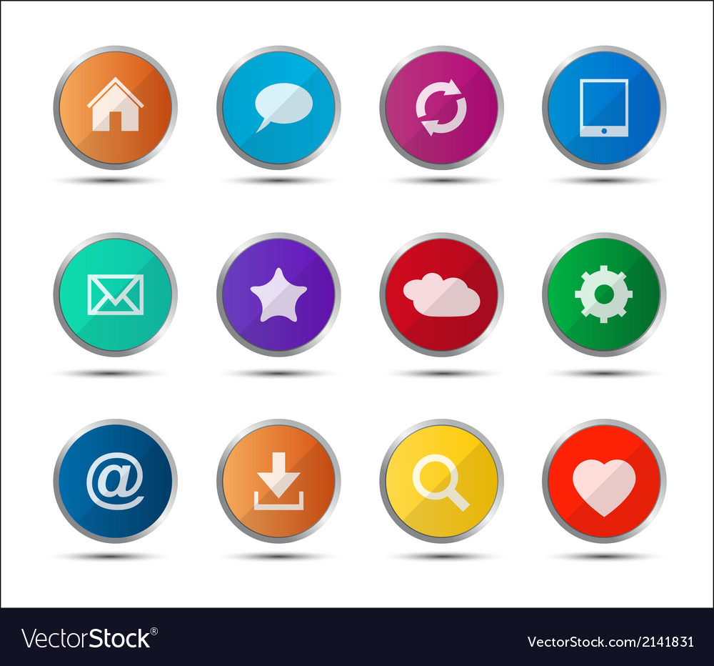 Set of colored navigation web icons on white vector | Price: 1 Credit (USD $1)