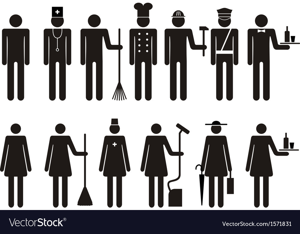 Set of icons of figure people job occupation vector | Price: 1 Credit (USD $1)