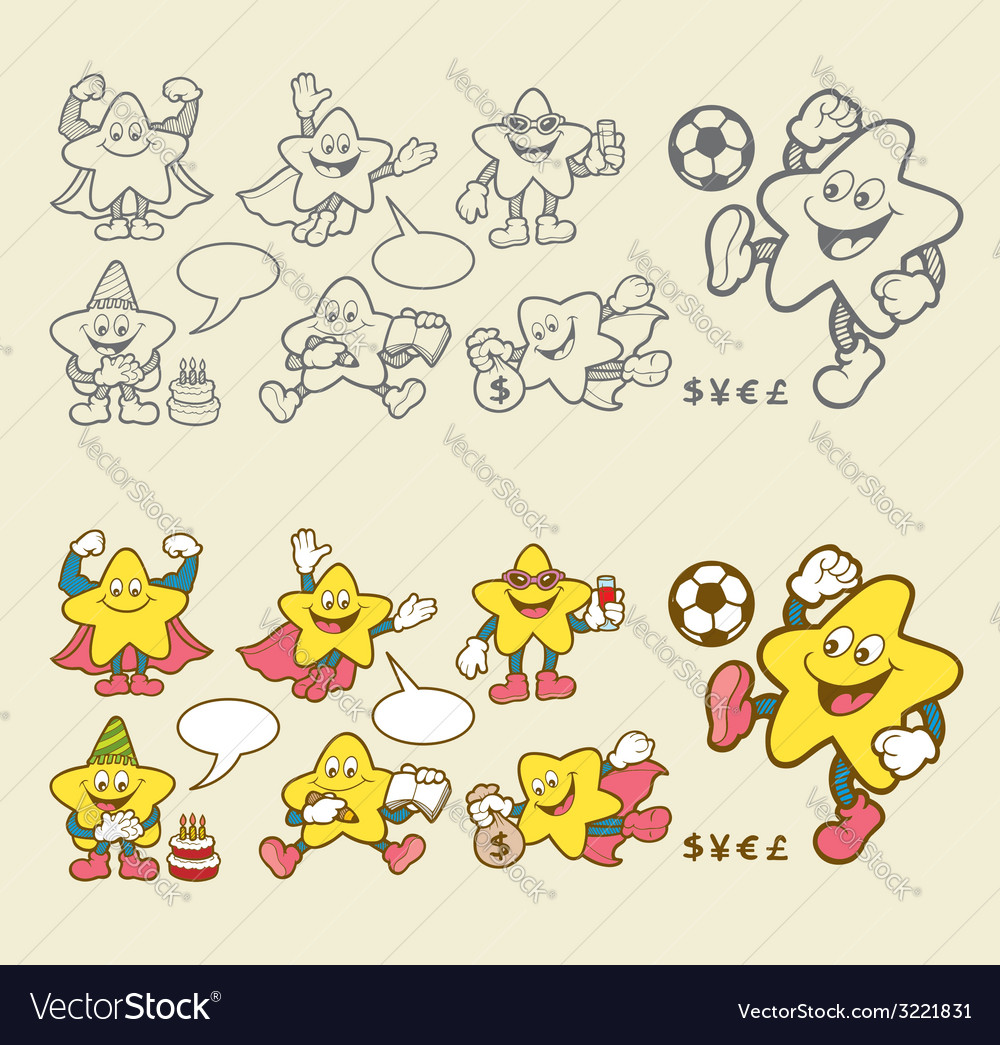 Superstar cartoon icons vector | Price: 1 Credit (USD $1)