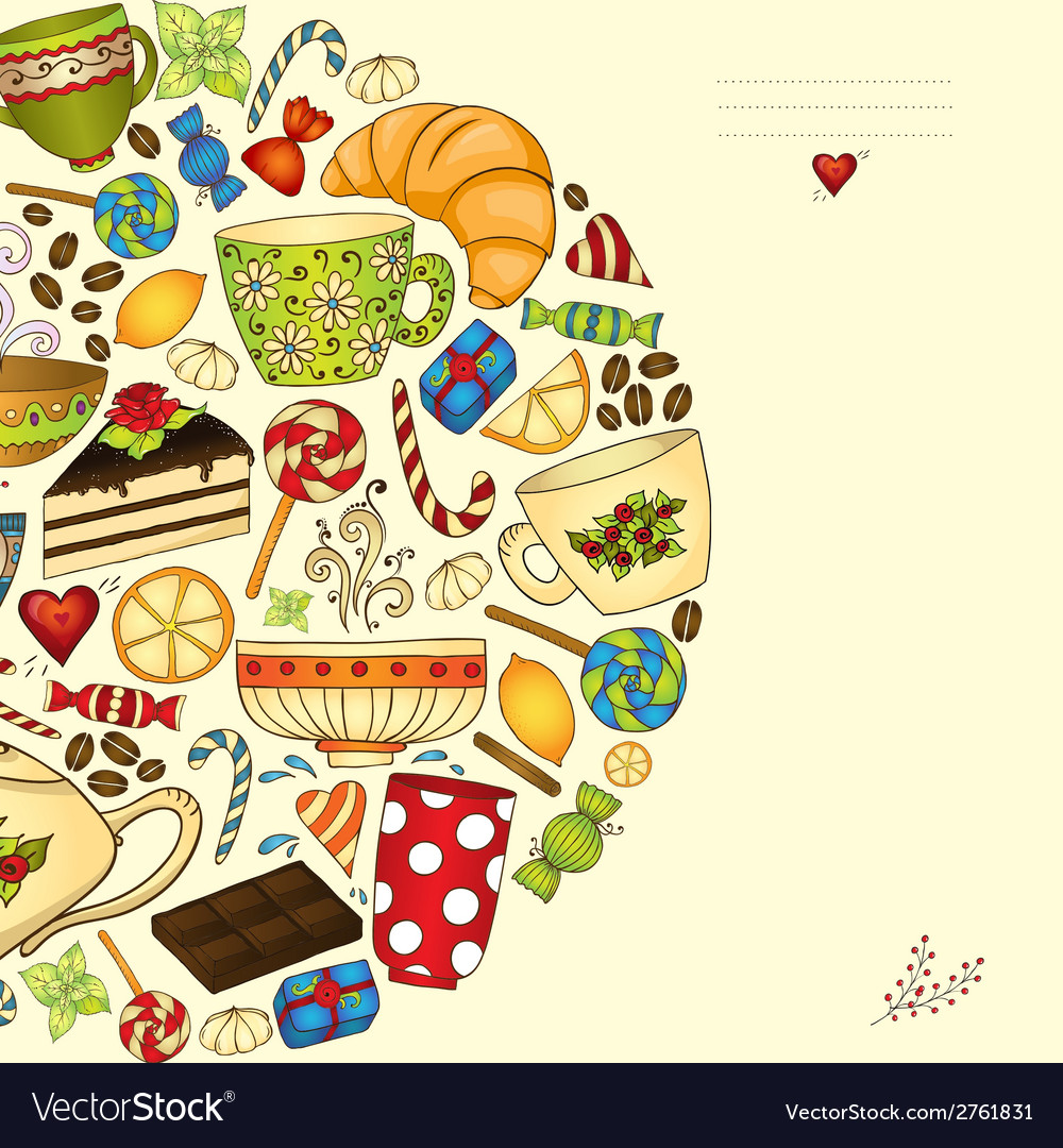 Tea coffe and sweets pattern invitation vector   Price: 1 Credit (USD $1)