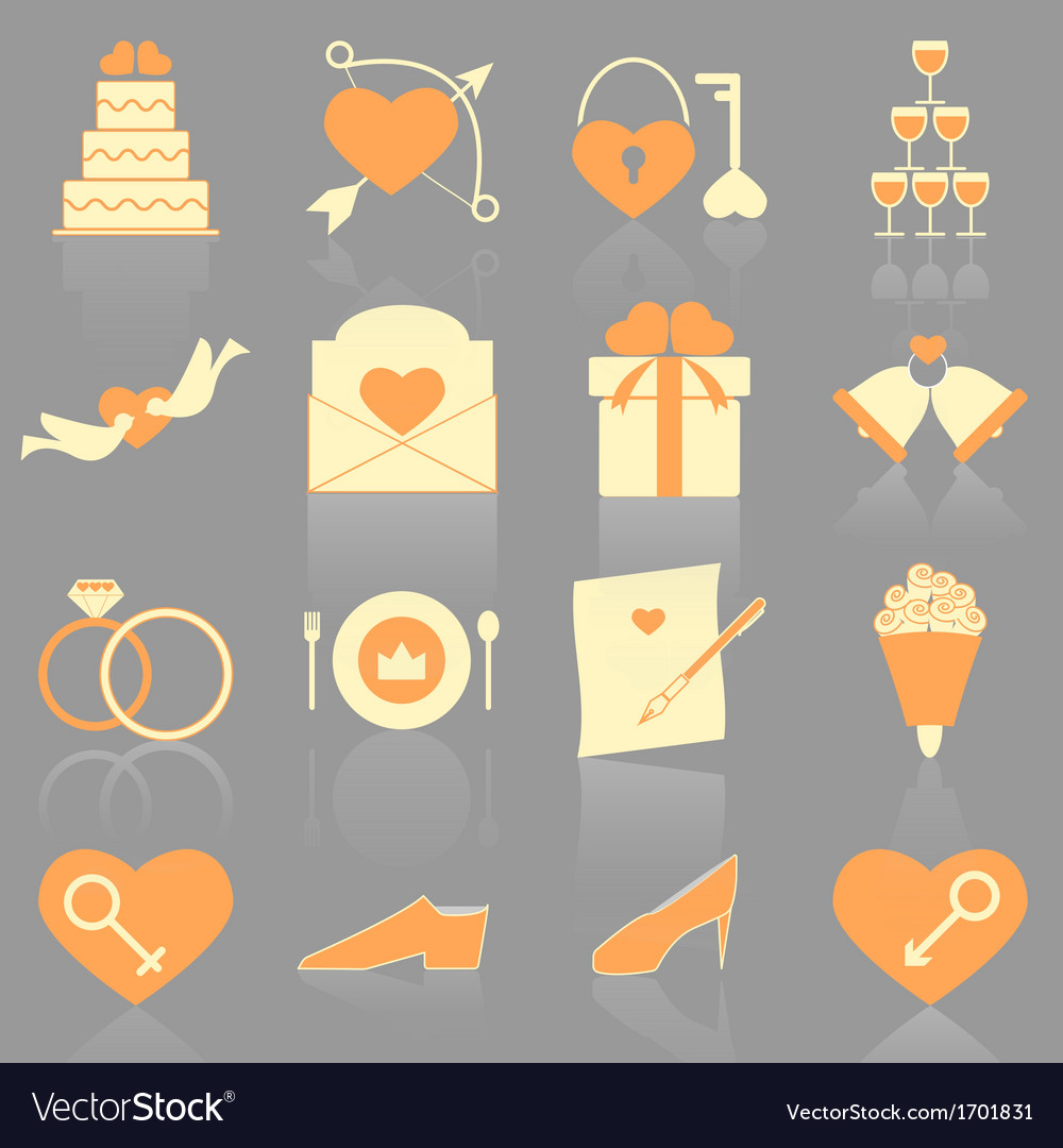 Wedding color icons with reflect vector | Price: 1 Credit (USD $1)