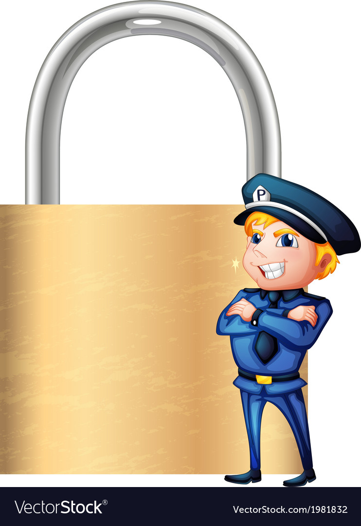 A smiling cop beside the giant padlock vector | Price: 1 Credit (USD $1)