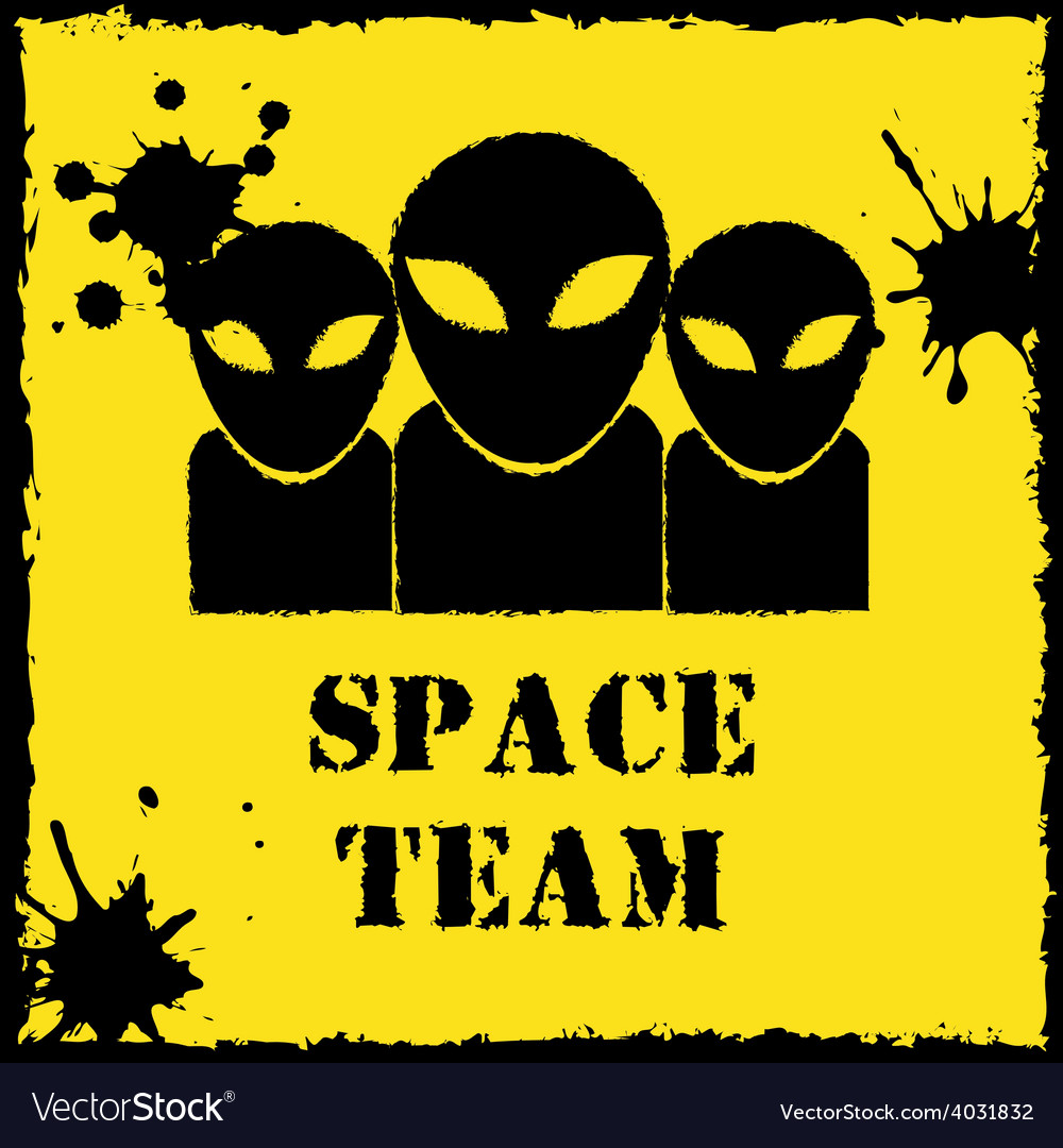 Alien space team logo on yellow background vector | Price: 1 Credit (USD $1)