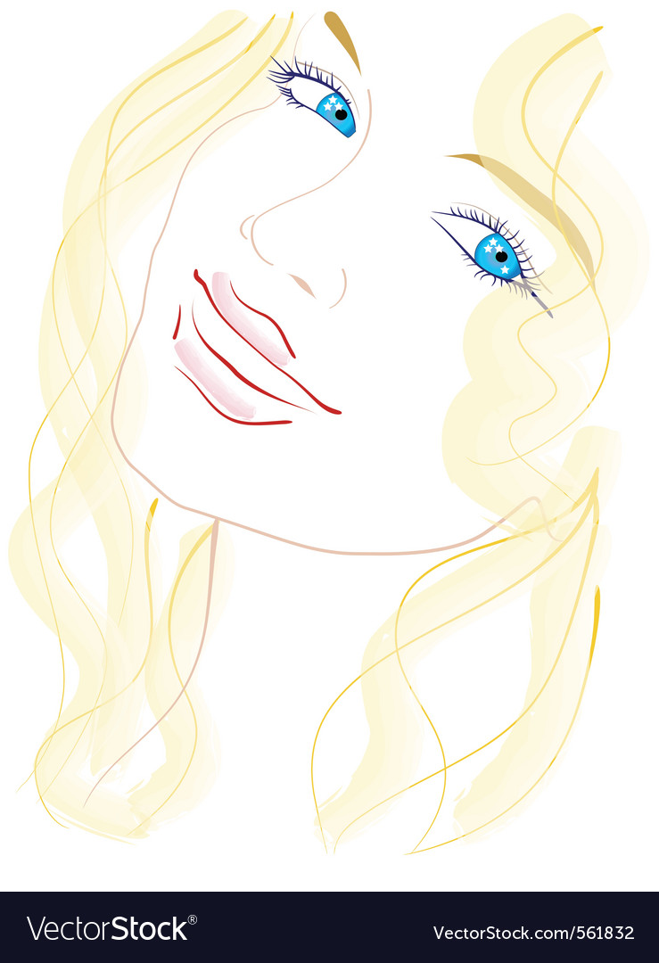 Blue eyed girl vector | Price: 3 Credit (USD $3)