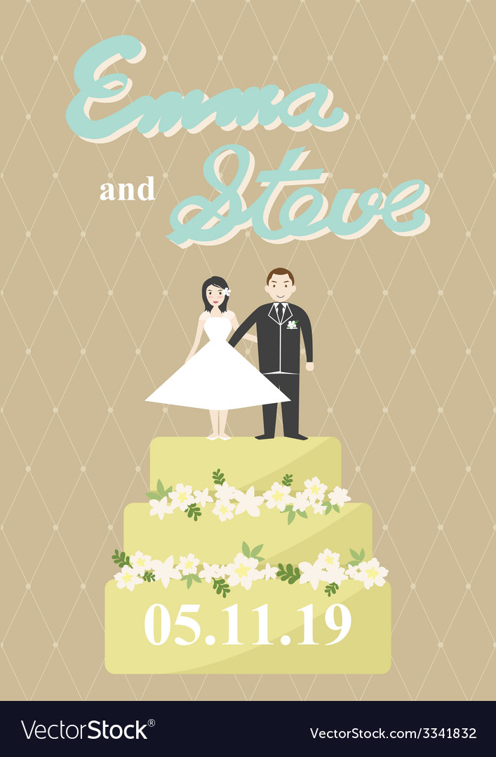Bride and groom on a cake vector | Price: 1 Credit (USD $1)