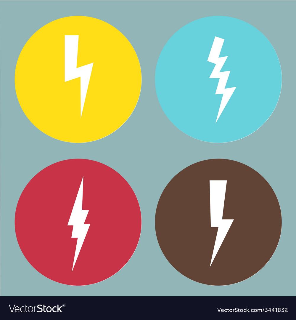 Flat lightning symbols set vector | Price: 1 Credit (USD $1)