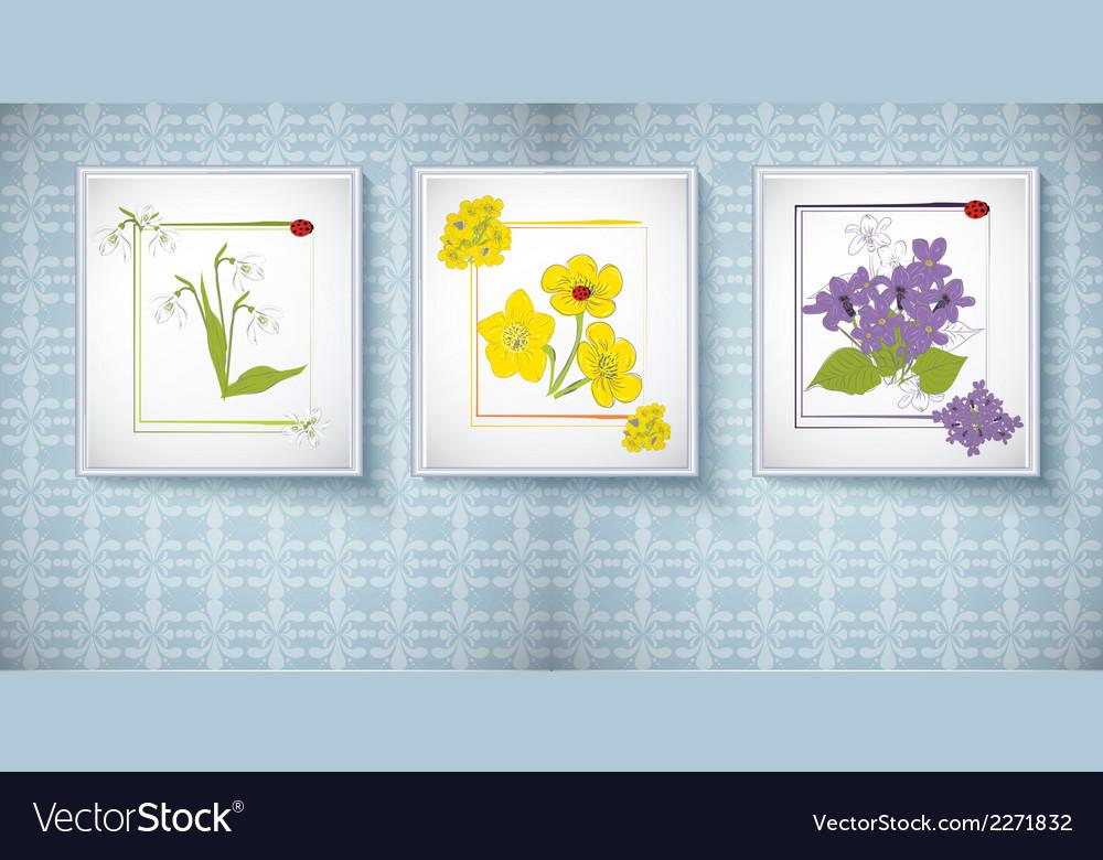 Flowers in frames vector