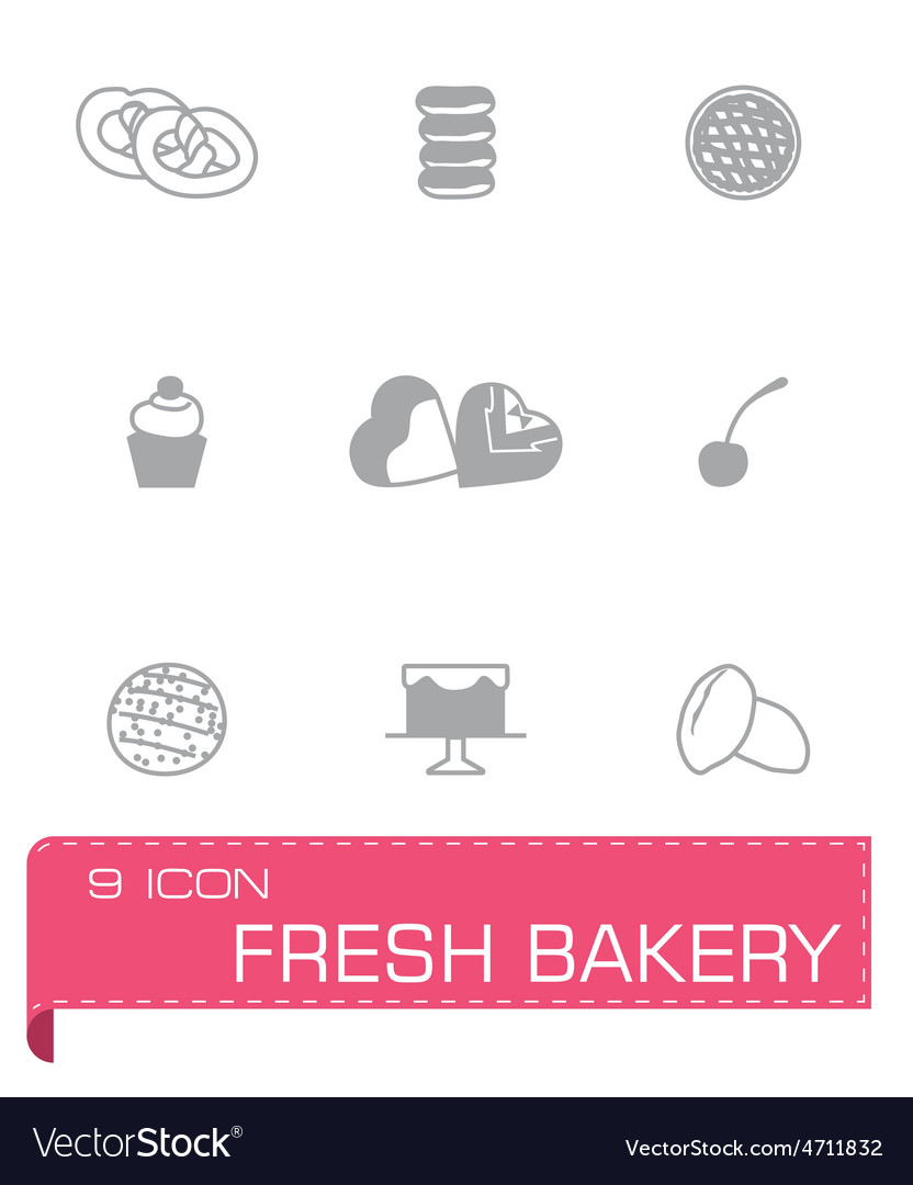 Fresh bakery icon set vector | Price: 1 Credit (USD $1)