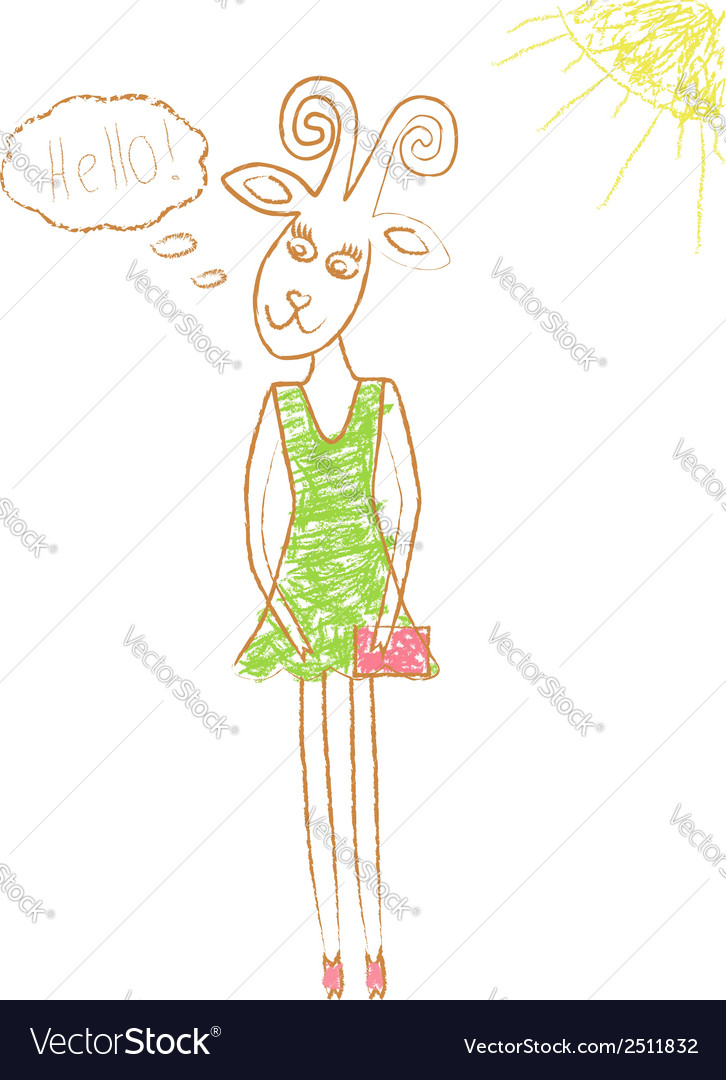Pencil drawn goat vector | Price: 1 Credit (USD $1)